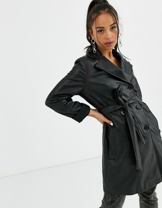 Bershka faux leather double breasted tie waist jacket in black