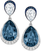 Swarovski Silver-Tone Teardrop Crystal and Pavé Drop Earrings