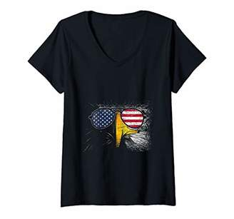 American Eagle Womens 4th Of July Gift Idea US Pride V-Neck T-Shirt