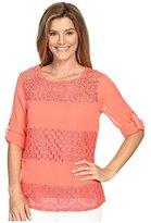 Calvin Klein Women's Mixed Lace Roll Sleeve
