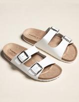 Madden-Girl Double Buckle Womens White Slide Sandals
