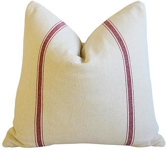 One Kings Lane Vintage French Burgundy Striped Textile Pillow