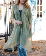 Leto Collection Women's Kimono Cardigans SAGE - Sage Sheer Fringe-Trim Kimono - Women