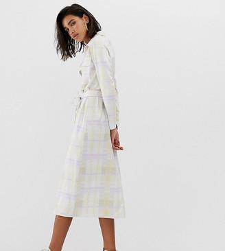 Reclaimed Vintage inspired midi shirt dress in logo check print