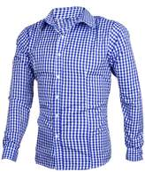 uxcell Azzuro Men Buttoned Cuff Point Collar Plaids Long-sleeved Shirt White M