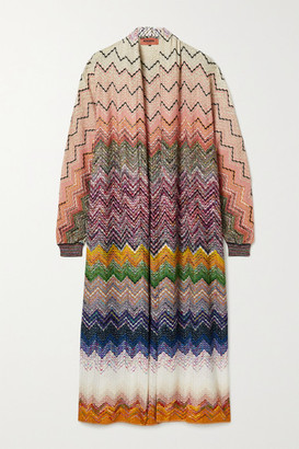 Missoni Oversized Metallic Crochet-knit Cardigan - Brown