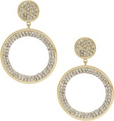 Ettika Large Crystal Disc Drop Hoop Earrings