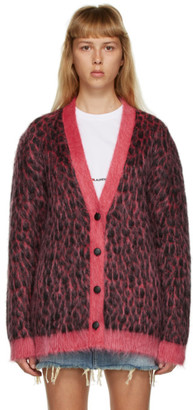 Saint Laurent Pink and Black Oversized Mohair Cardigan