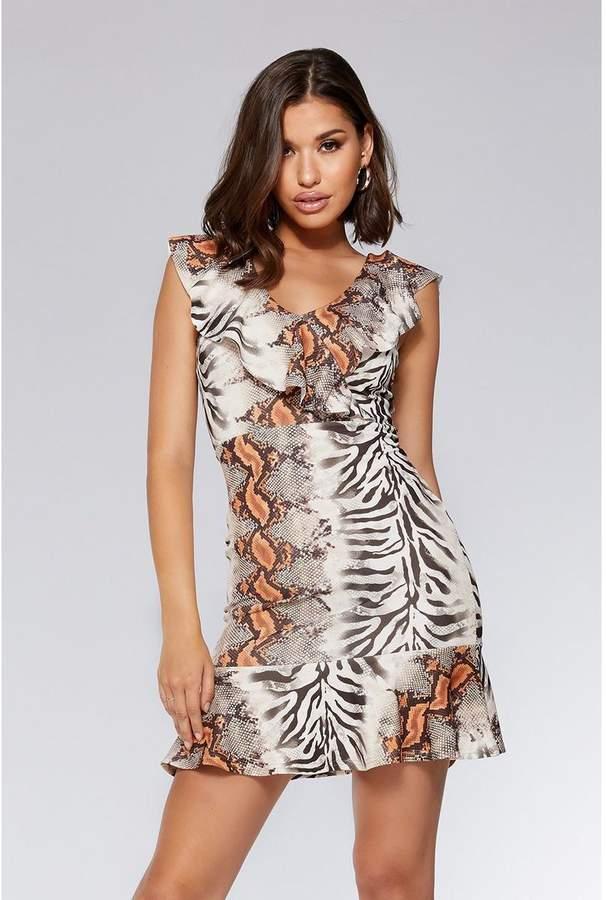 Quiz Brown And Orange Snake Print Frill Dress