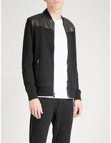 Michael Kors Stand-collar Cotton-jersey And Leather Bomber Jacket