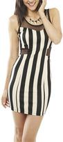 Wet Seal WetSeal Vertical Stripe Illusion Dress Stone