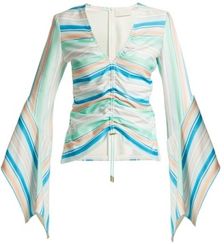 Peter Pilotto Striped Bell-sleeve Jersey Top - Green Stripe