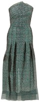Roland Mouret Saranda Metallic Fil-coupe Pleated Dress - Womens - Green