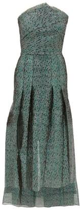 Roland Mouret Saranda Metallic Fil-coupe Pleated Dress - Green