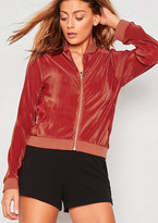 Missy Empire Jaclyn Red Pleated Bomber Jacket