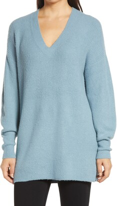 Halogen Cozy V-Neck Tunic Sweater