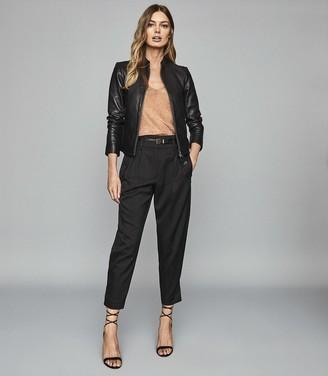 Reiss Allie - Leather Collarless Biker Jacket in Black