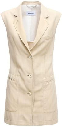 Salvatore Ferragamo Long Canvas Vest W/ Leather Half Belt