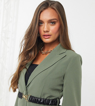4th & Reckless Petite blazer with contrast belt in khaki