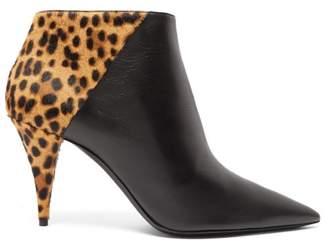 Saint Laurent Kiki Leopard-print Calf-hair Suede Ankle Boots - Womens - Black Brown