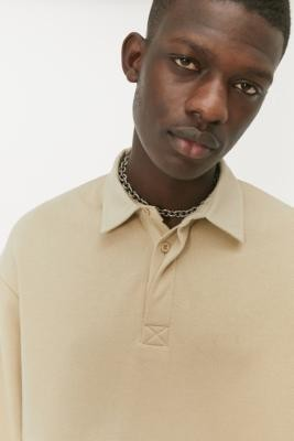 Long Gone Stone Rugby Top - Beige S at Urban Outfitters