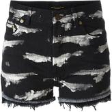 Saint Laurent tiger stripe bleach denim shorts - women - Cotton - 26