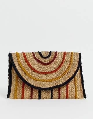 Pimkie rafia cross body bag with coloured braiding-Beige