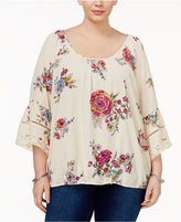 Eyeshadow Trendy Plus Size Bell-Sleeve Blouse