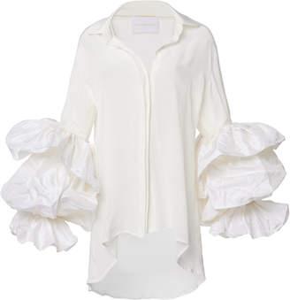 Leal Daccarett Ila Ruffled Silk-Crepe De Chine Top