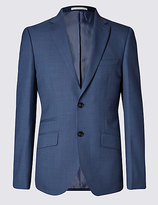 M&s Collection Blue Slim Fit Single Breasted Jacket