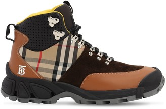 Burberry 40MM CHECK LEATHER & COTTON HIKING BOOTS