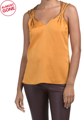 Silk Blend V-neck Sleeveless Embellished Blouse