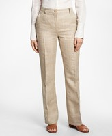 Brooks Brothers Plaid High-Waisted Wool-Linen Pants