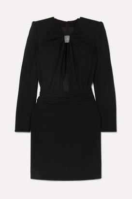 Saint Laurent Embellished Cutout Cady Mini Dress - Black
