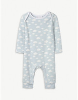 The Little White Company Cloud print cotton sleepsuit 0-24 months