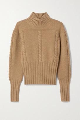 KHAITE Maude Cable-knit Cashmere Turtleneck Sweater - Sand