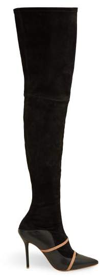 Malone Souliers Madison Over The Knee Suede Boots - Womens - Black Nude