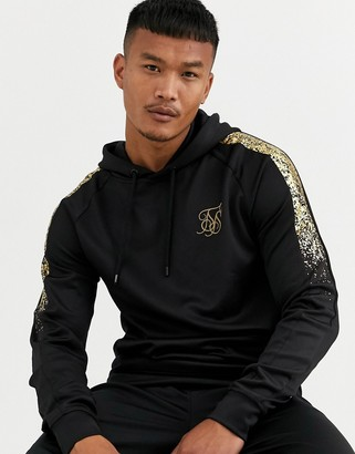 SikSilk hoodie with faded gold print in black