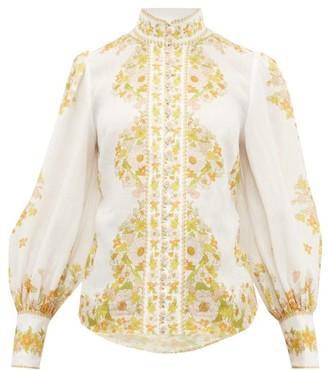 Zimmermann Super Eight Floral-print Gauze Blouse - Womens - White Print