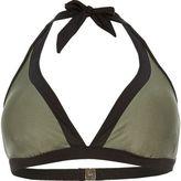 River Island Womens Plus khaki color block bikini top