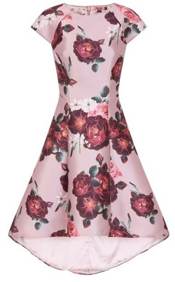 Dorothy Perkins Womens Chi Chi London Pink Floral Print Dip Hem Skater Dress, Pink