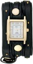 La Mer Women's LMSW1001 Black Gold Stud Analog Display Quartz Black Watch