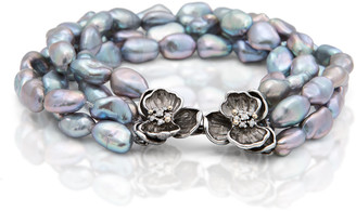 Michael Aram Orchid Four-Strand Pearl Nugget Bracelet with Diamonds
