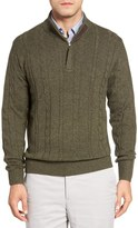 Peter Millar Cable Knit Wool Blend Quarter Zip Sweater