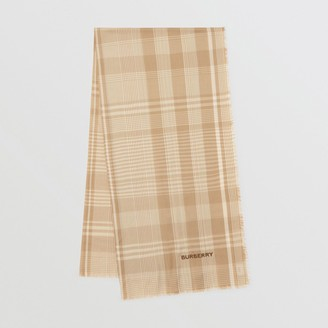 Burberry Logo Embroidered Lightweight Check Cashmere Scarf