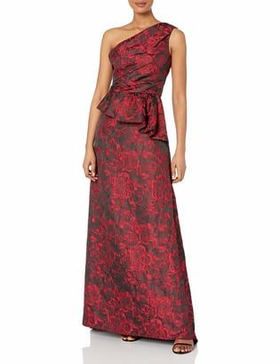 Carmen Marc Valvo Women's One Shoulder Brocade Gown W/Side Peplum