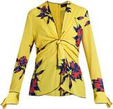 Proenza Schouler Lily-print knot-front silk-crepe top