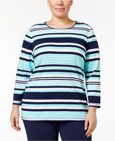 Karen Scott Plus Size Striped Top, Only at Macy's