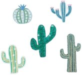 Kikkerland Cactus Iron On Decorative Patches for Clothes Set of 5 Designs