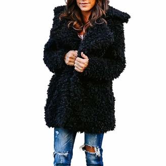 Toamen Women's Tops Womens Jacket Coat Long Sleeve Faux Fur Fluffy Fleece Notch Collar Warm-up Outerwear Cardigan by Toamen(Black 14)